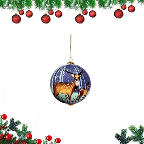 Yq Christmas Ornament Balls For Xmas Tree Diy Hand Painting Glass Christmas Ball Xmas Deer Tree Ball With Hanging Loop Xmas Tree Decorations For Christmas Holiday Wedding Party Home Décor Home