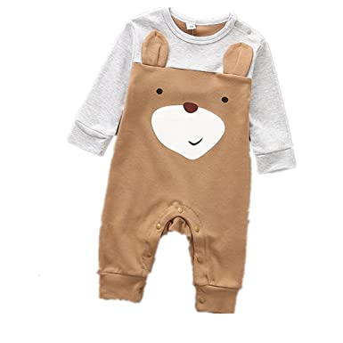 8989bd773 Amazon.com  Spring and Autumn Baby Clothing Baby Long Sleeve Romper ...