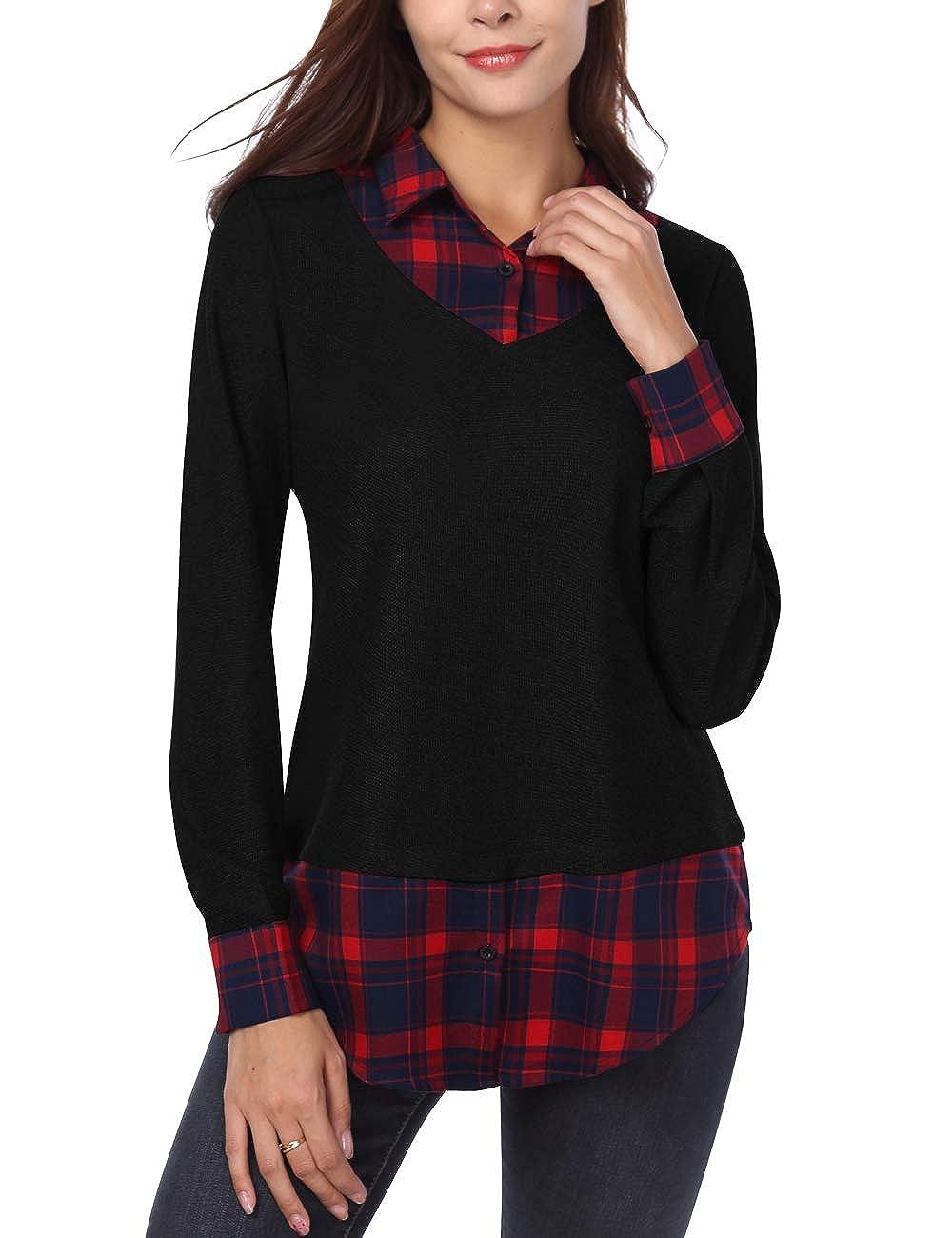 DJT suéter de Punto 2 en 1 con Dobladillo Curvado y Cuello clásico para Mujer