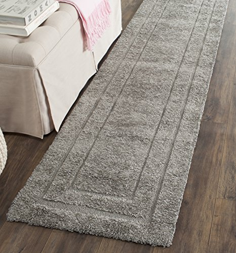 Safavieh Shadow Box Shag Collection SG454-8080 Runner Area Rug, 2-Feet 3-Inch by 7-Feet, Grey and Grey (Runner 7 Ft)