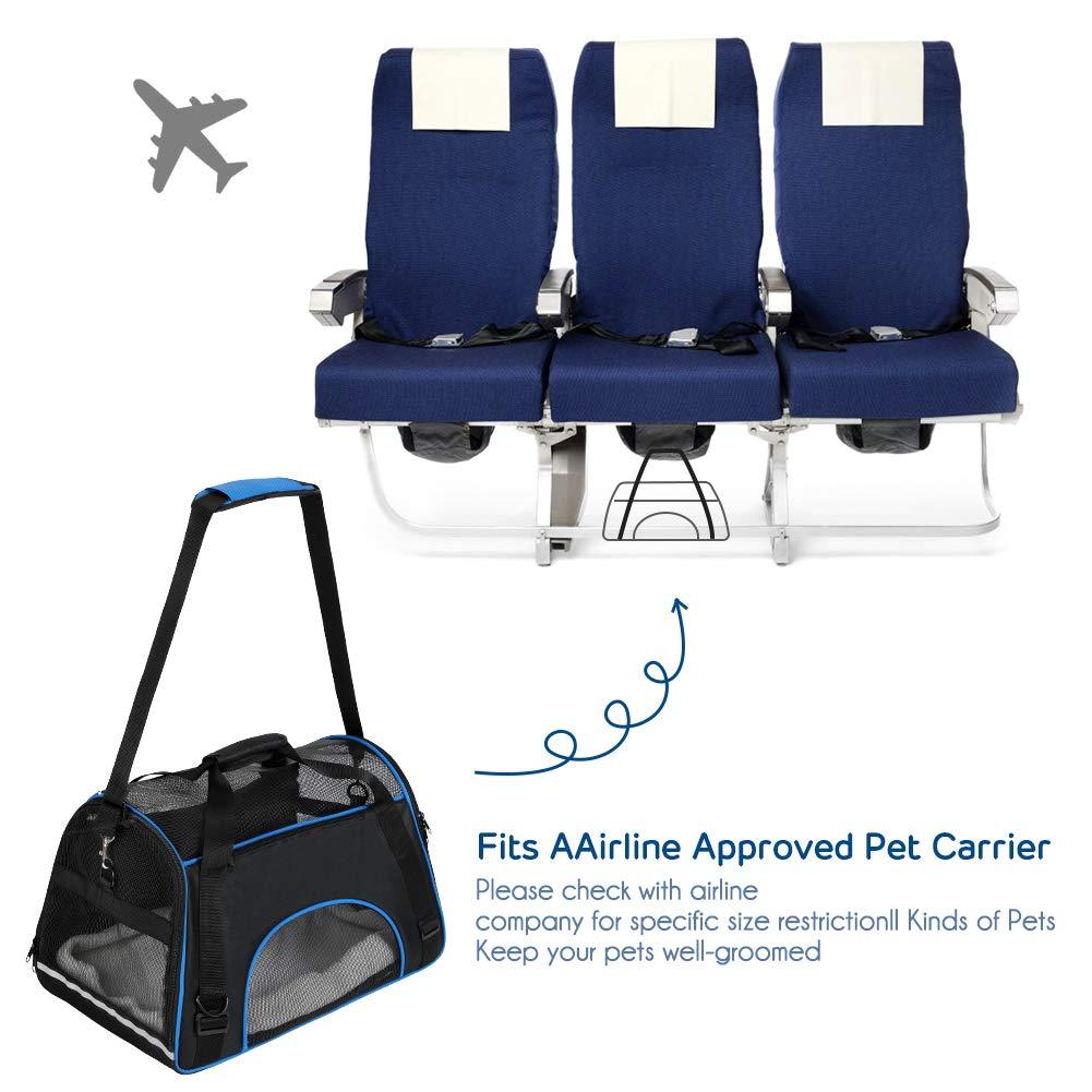 YOUTHINK Transportin Gato Portador Portátil Aprobado por la Aerolínea, Extra Espacioso Suave Lado para Mascotas Seguridad 19.5x11.5x11.5 Pulgadas, ...