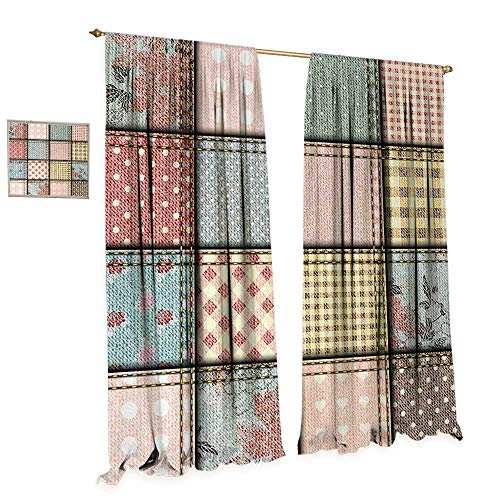 Anniutwo Shabby Chic Window Curtain Fabric Patchwork Denim Seem Fabric Pieces with Stitches Square Tile Digital Print Drapes for Living Room W84 x L84 - Curtains Patchwork Shabby