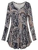 Bebonnie Flowy Tunic Tops, Women's V Neck Flattering Long Sleeve Floral Comfy Shirts Multicolor Beige XXL
