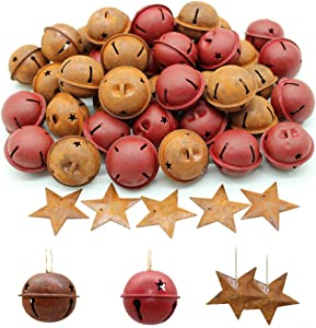 Yokoke 60 Pcs Christmas Rusty Tin Jingle Bells and Stars Country Primitive Farmhouse Red Tin Bells Sleigh for Christmas Tree Ornament, Holiday or Everyday Hanging Crafting and Embellishing
