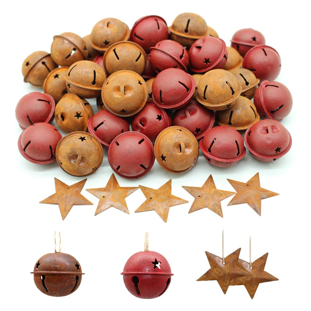 Holiday or Everyday Crafting and Embellishing /… Yokoke Country Primitive Craft Look Rusty Tin Jingle Bells and Stars for Christmas 60PCS Bells Plus Stars