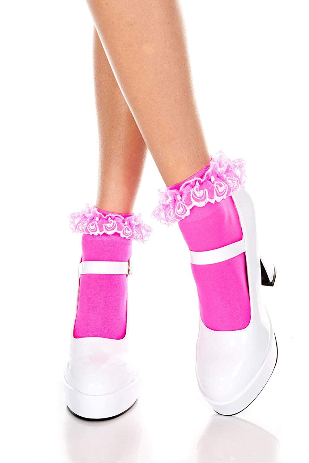 LADIES OPAQUE ANKLE HI HIGH SOCKS WITH LACE RUFFLE FRILL TOP ONE SIZE