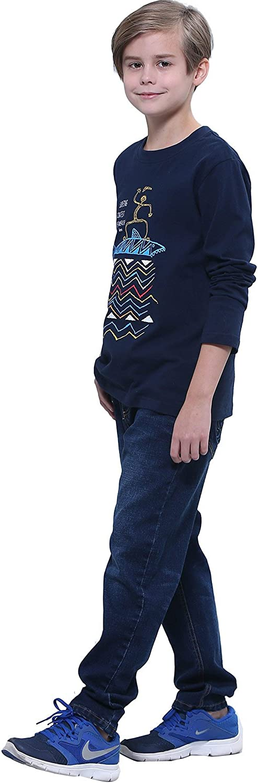 LEO/&LILY Boys Kids Elastic Waist Regular Fit Stretch Denim Jeans Blue LLB648
