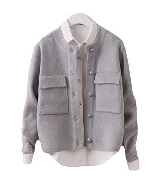 95ffc5bc87e Only Faith Woman Long sleeve knit small pocket pure color sweater cardigan ( Grey)