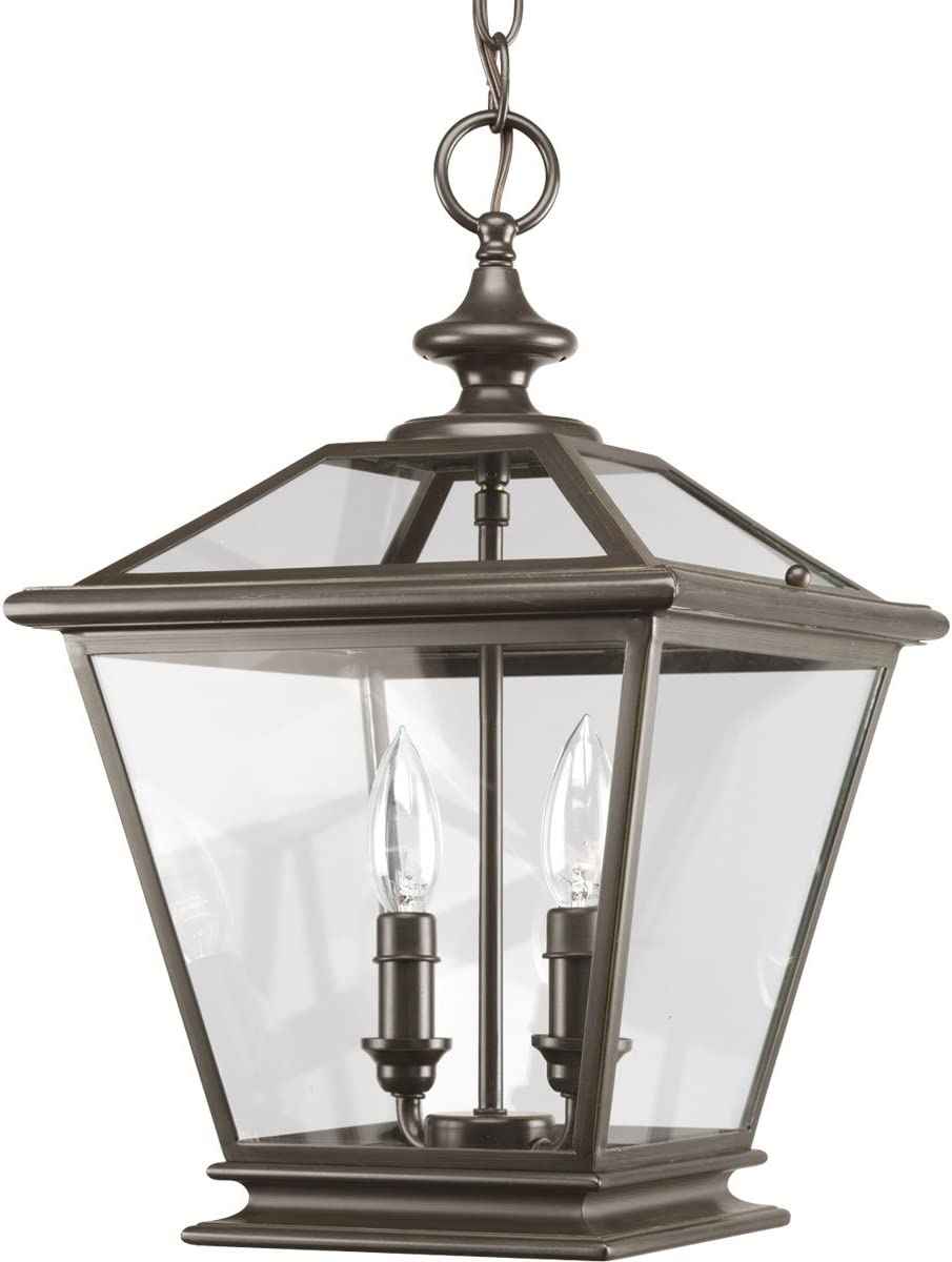 Progress Lighting P3902-20 2-Light Foyer Fixture with Clear Beveled Glass Panels, Antique Bronze