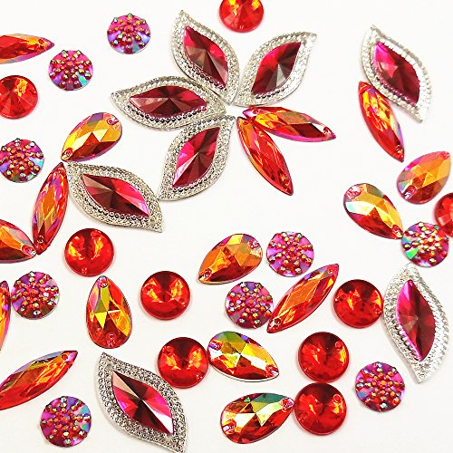 80 Pieces Glitter Red AB Faceted Gems Acrylic Sew On Rhinestones Flatback Crystal for Clothing Dress Decorations (Red Craft Gems)