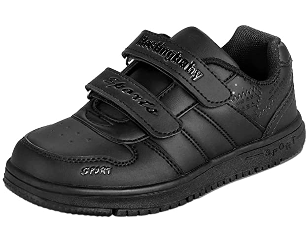 2ffb5986eaf3b Amazon.com | VECJUNIA Boys Girls Classic Black Sport Shoes Anti-Slip ...