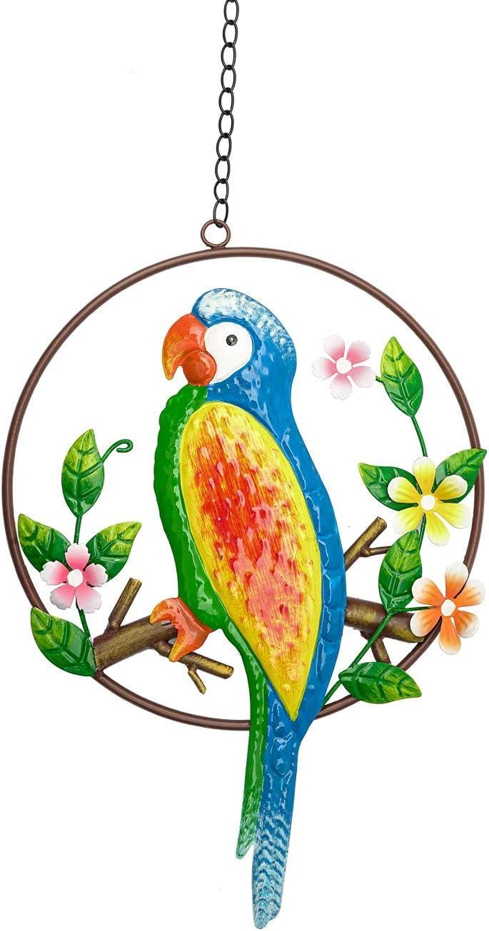 Indefree Metal Parrot Wall Decor, Colorful Bird Art Wall Hanging for Indoor Outdoor Home Bedroom Office Garden 14.56