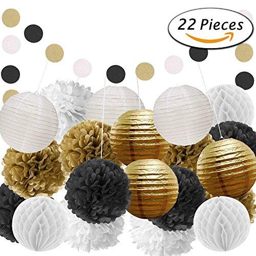 Paxcoo 22 Pcs Black Gold White Tissue Pom Poms Paper Flowers Paper Lanterns for Birthday Party (Black And Gold Pom Poms)