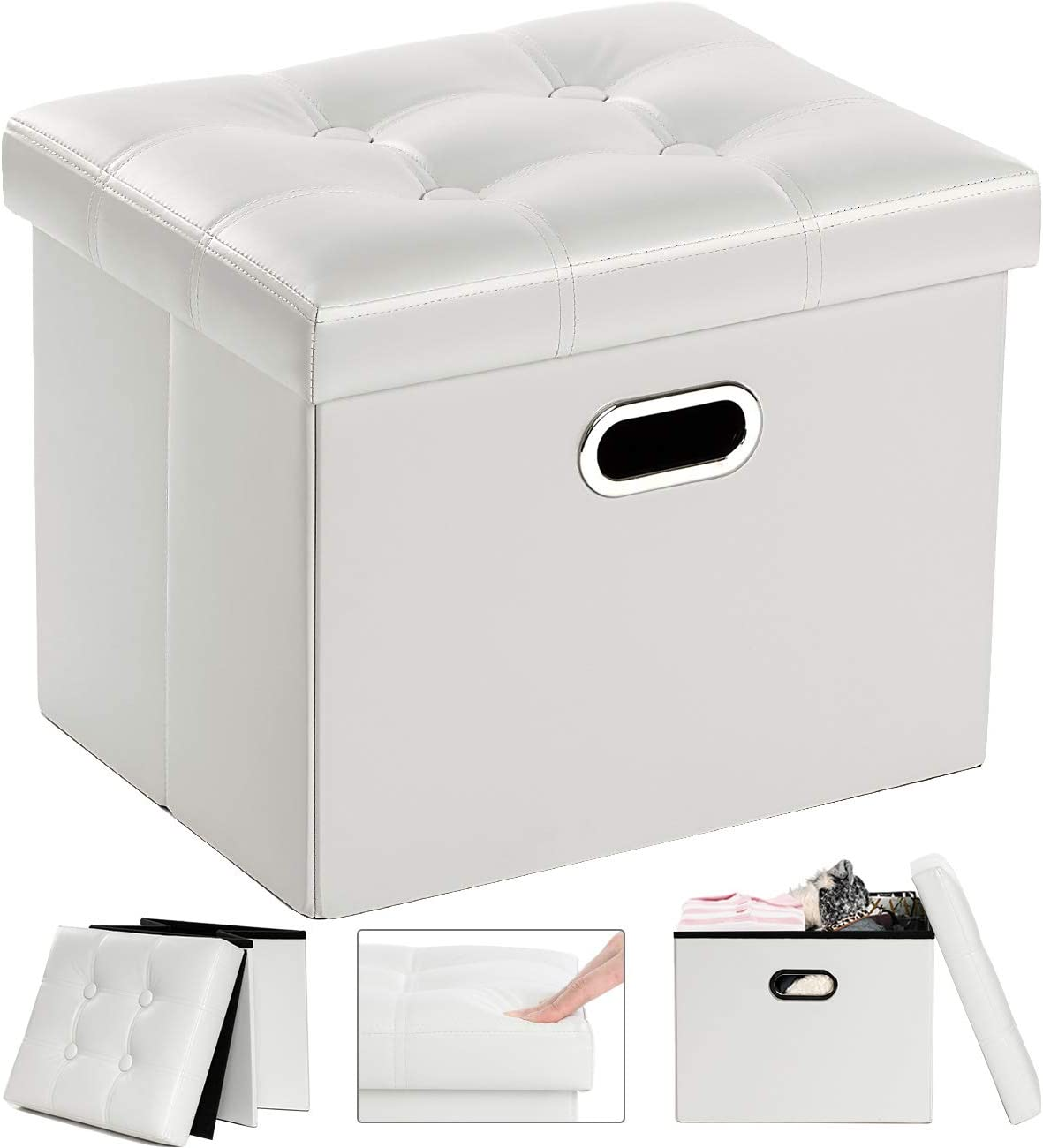 COSYLAND Storage Ottoman 17x13x13in Leather Ottoman Rectangle Foot Rest Foot Stool Folding Ottoman for Room Dorm Small Collapsible Bench Seat Organizer Entryway Furniture with Handles Lid White