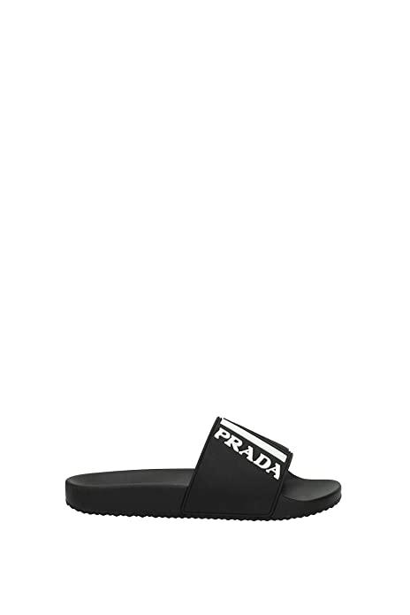ff91d6b16 Prada Black Logo Print Slider Sandals (6 UK)  Amazon.co.uk  Shoes   Bags