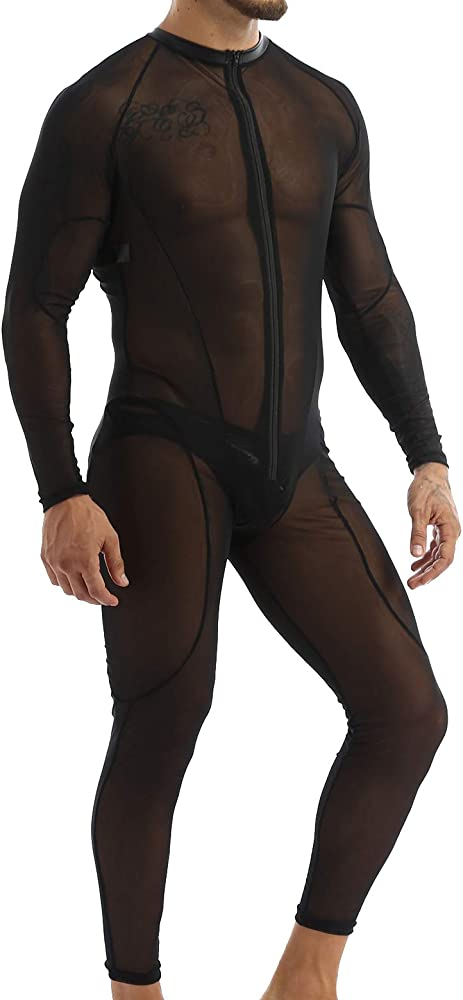 Mens Mesh Camo Sheer One-Piece Wrestling Singlet Boxer Trunks Tight Bodysuit