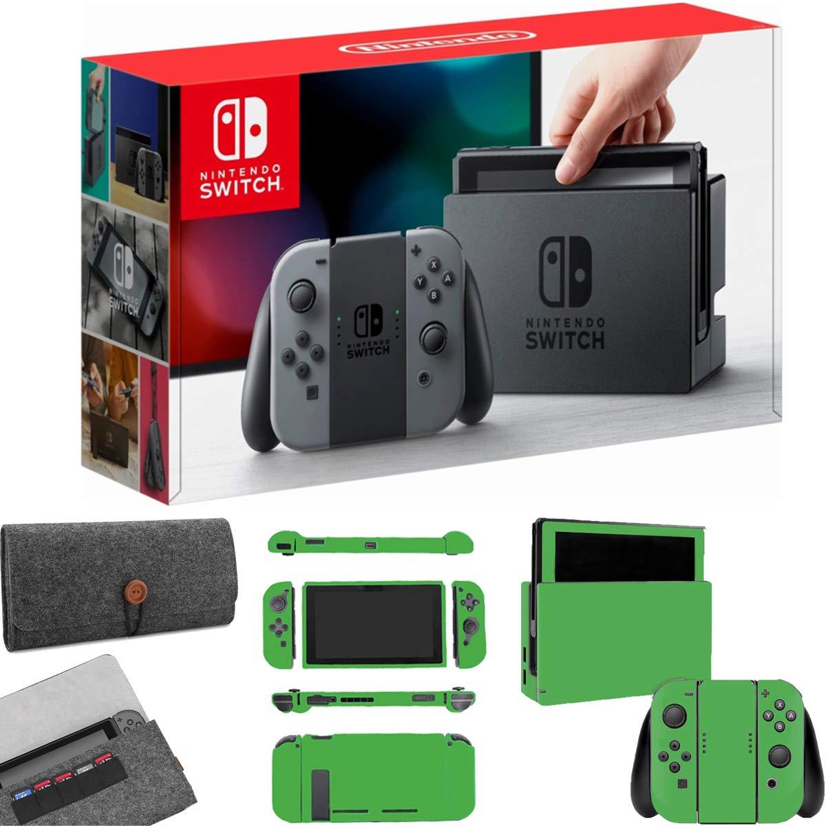 Nintendo Switch 32GB Gray Joy-Con & Deco Gear Protective Sleeve+Lime Skin Bundle