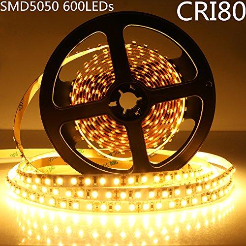 LightingWill LED Strip Lights CRI80 SMD5050 600LEDs 16.4F...