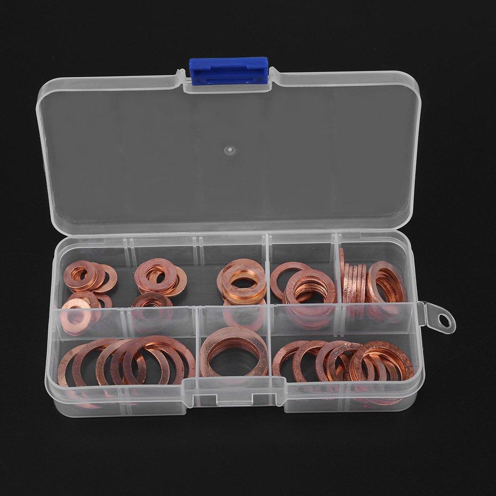 Joint Rondelle Plate,Assortiment de Rondelles M/étal Kit avec Bo/îte 80pcs Rondelles en Cuivre Assortiment Kit