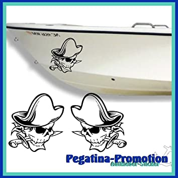 2 x Piraten Totenkopf und Schwerter Seite ca. 30 x 20 cm Aufkleber ...