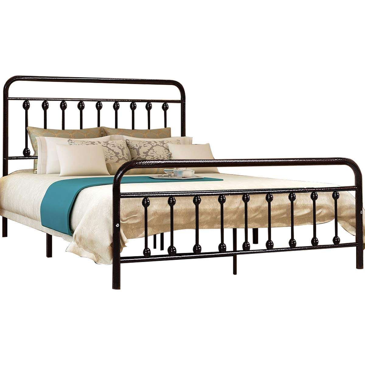 Dark Copper Metal Platform Bed Box Spring Replacement Foundation with Headboards & Hevay Duty Steel Slats, Full HOMERECOMMEND YD634Full