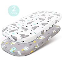 Stretchy-Bassinet-Sheet-Set-BROLEX 2 Pack Snug Fitted Cradle Fitted Sheets for Bassinet Pads/Mattress, for Boys Girls,Unisex,Ultra Soft Breathable,Owl & Bear