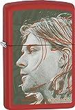 Zippo Custom Lighter - Kurt Cobain Grunge Illustration Portrait - Regular Red Matte