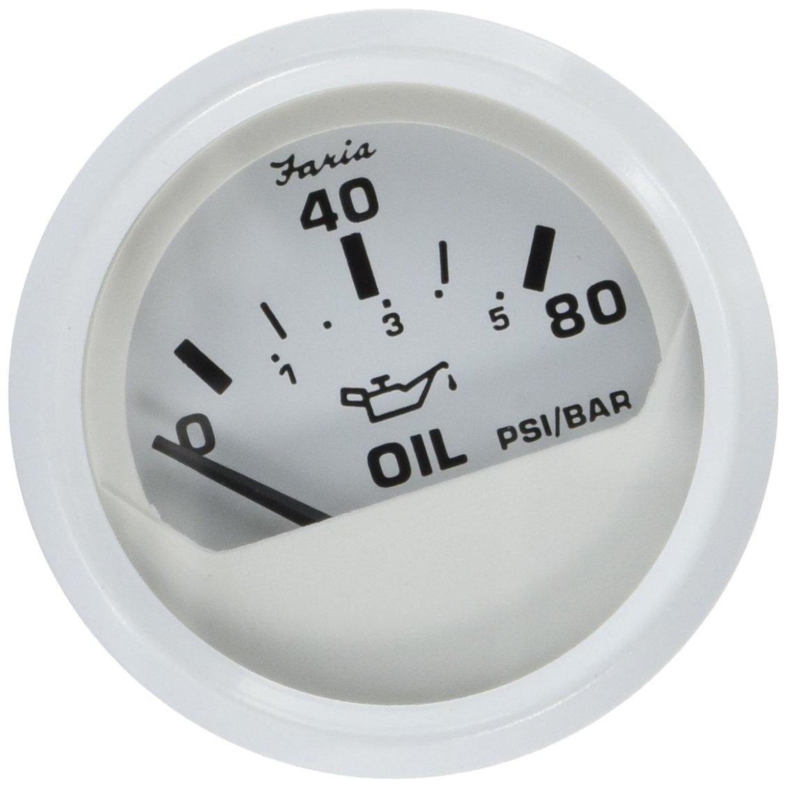 Dress White Faria 13102 Oil Pressure Gauge-80 PSI