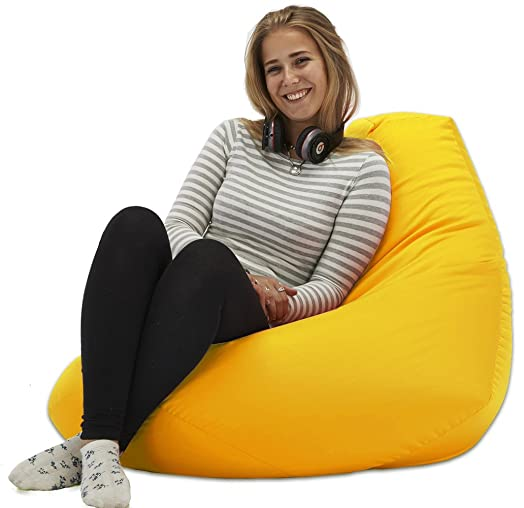 XX L Yellow Highback Beanbag Chair Water Resistant Bean Bags For Indoor And Outdoor Use