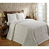 2 Piece Off White Chenille Geometric Tufted Pattern Bedspread Twin Set, Elegant High-Class Luxurious Rich Motif Textured Design, Reversible Bedding, Shabby Chic Country Style, Natural Color, Unisex
