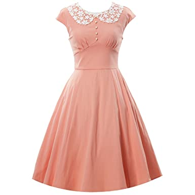 56e124ceebc Oyza9pe Women s Vintage 1940s Lace Swing Formal Party Skaters Gown Dress S  Pink