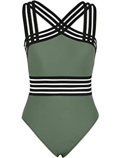 645d8e42215d6 Hilor Women's One Piece Swimwear Front Crossover Swimsuits Hollow Bathing  Suits Monokinis