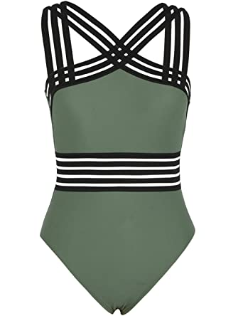 aa7ee61162ab0 Hilor Women's One Piece Swimwear Front Crossover Swimsuits Hollow Bathing  Suits Monokinis Army Green S/