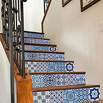Uphome 6 PCS 3D Blue And White Porcelain Self Adhesive Stair Stickers  Removable Waterproof Wall