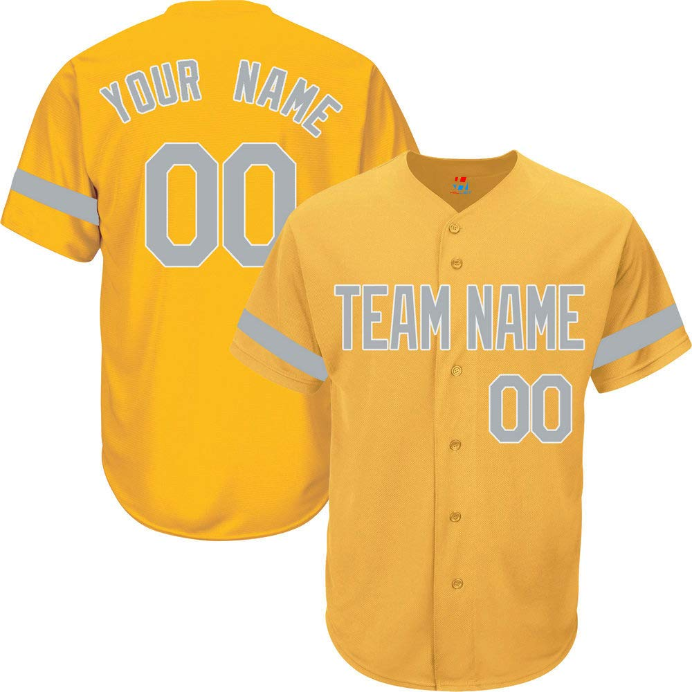 Yellow Custom Baseball Jersey for Men Button Down Embroidered Team Player Name & Numbers,Gray-White Striped Size S