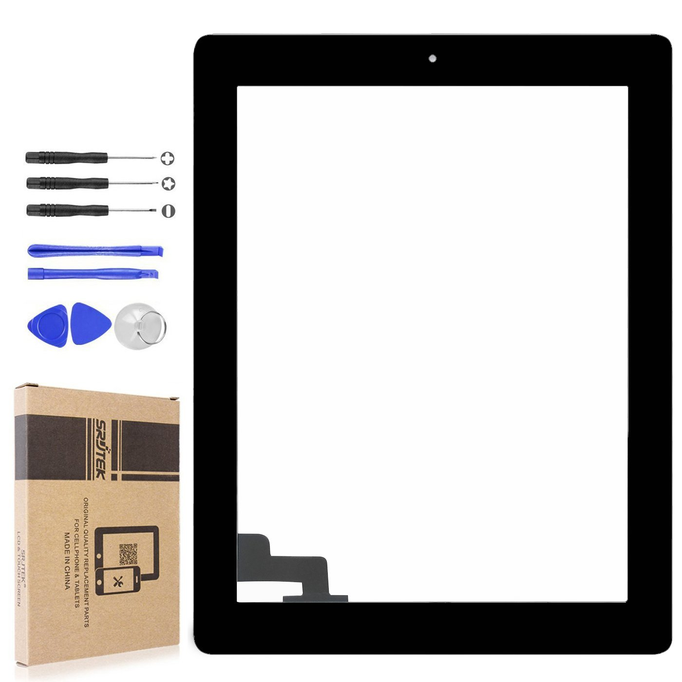 srjtek Touch Screen Digitizer for IPad 2 A1397 A1395 A1396,Replacement Parts Home Button + Cameral Holder + Pre-installed Adhesive + Middle Frame Bezel,Professional Tools Include(Black)