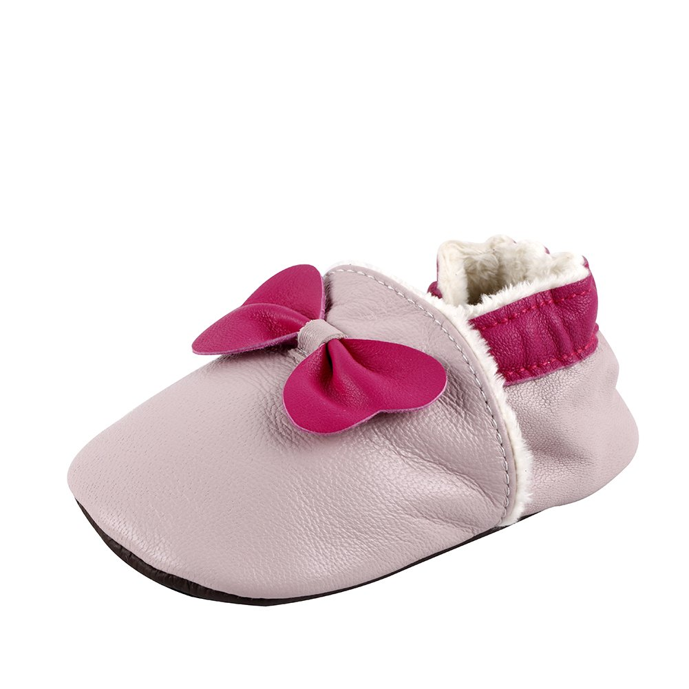 Tongchou Chaussures Bebe Cuir Souple Hiver Chaude Chaussons Bebe Unisex Garcon Fille Rouge Taille S