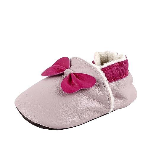 Free Fisher Zapatos de Cuero Suave para Bebés Zapatillas Bebés Invierno para Primeros Pasos, Lazo Rosado, 18-24 Meses: Amazon.es: Zapatos y complementos