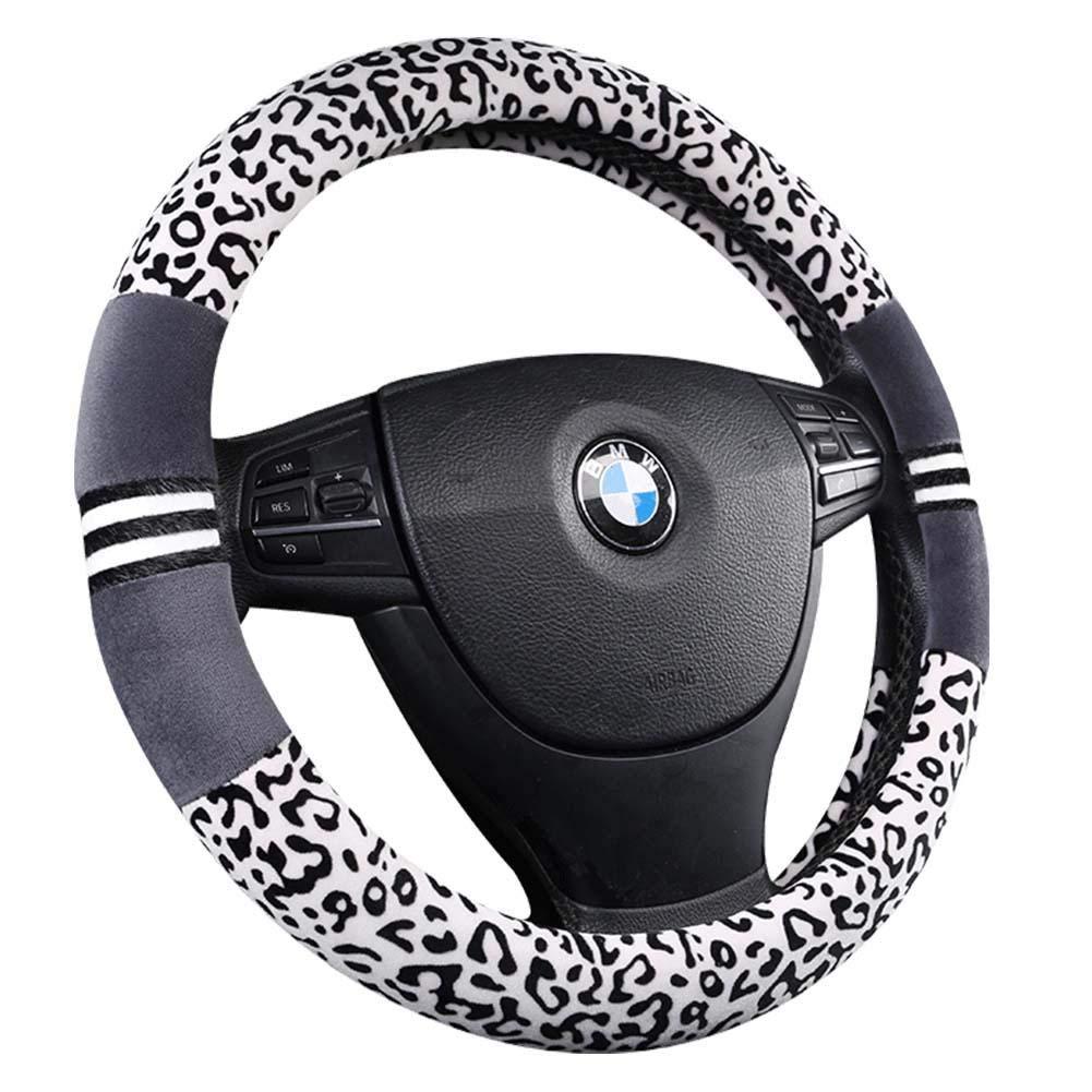 Gant de manchon de volant de voiture universel hiver chaud volant doux imprim/é l/éopard de mode en peluche coupe universelle 38 cm