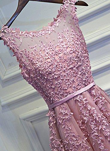 Cocktailkleid Tüll Elegant 2018 Luckyshe O-ausschnitt Silber Damen Ballkleid Spitze Abendkleider Hochzeit Für Kurz