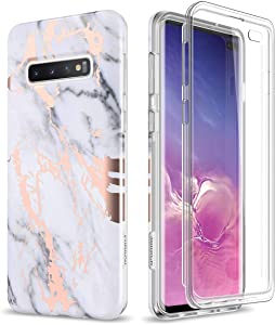 SURITCH Case for Galaxy S10 Plus,[Built-in Screen Protector] Rose Gold Marble Full-Body Shockproof Protection Rugged Cover for Samsung S10 Plus [Compatible with Fingerprint Sensor] (Gold Marble)