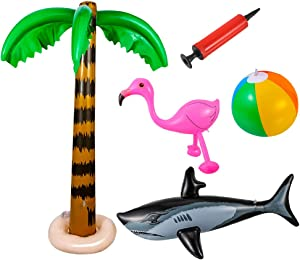 JOELELI Inflatable Palm Trees, Pink Flamingo Colorful Beach Ball Shark with Inflator, for Hawaii Pool Beach Luau Party Backdrop Decoration