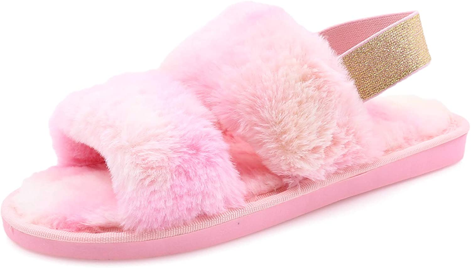 Women's House Fuzzy Slipper Fluffy Sandals Slides Leopard Print Soft Warm Comfy Cozy Bedroom Open Toe House Indoor Outdoor Slippers Sandals with Elastic Strap (Rainbow-Pink, Numeric_5)