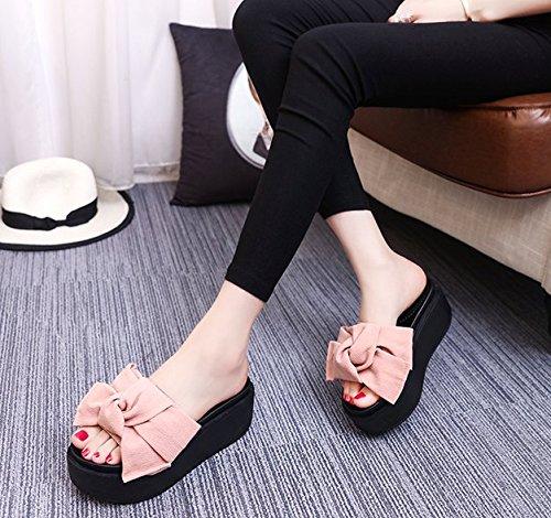 Un Moda 37 36 rosa Arco 5cm Sandalias arrastre pendiente gruesa Transpirable Bagatela Zapatillas Ajunr con zapatos elegante Suela Los PdwqqxTU