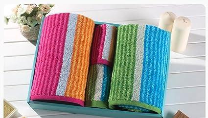 ZHAS Cuidado Fácil Fancy Stripes Plaza Toallas Toallas de Algodón en Caja de Regalo de Empresa