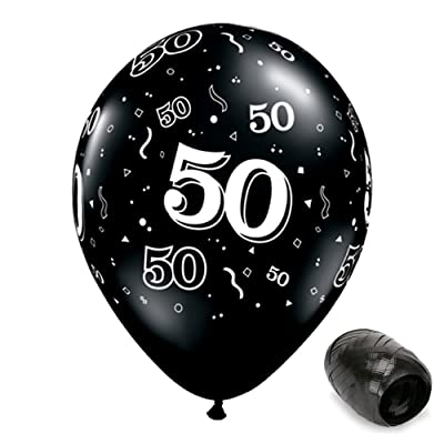 "10 Pack 11"" 50 Around Onyx Black 50th Birthday Latex Balloons with Matching Ribbons: Toys & Games"