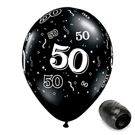 10 Pack 11quot 50 Around Onyx Black 50th Birthday Latex Balloons With Matching Ribbons