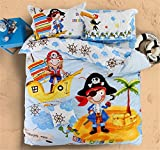 Auvoau Kids Pirate Nautical Themed Bedding Set Kid Duvet Cover Set Twin Full Queen 4PC (Queen, 1)