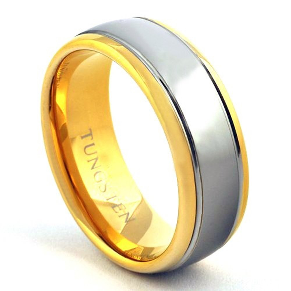 Men's 18K Gold and Silver 2 Tone Tungsten Wedding Ring Dome Band - Sizes 7-15 (9)
