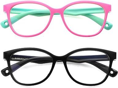 Blue Light Blocking Glasses for Kids TPEE Rubber Flexible Eyeglasses Frame with Glasses Rope for Children Age 2-10